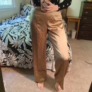 Pure Silk Gold Wide(ish) Leg Pants Size 6